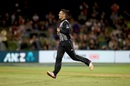 Anaru Kitchen wheels away after dismissing Rovman Powell, New Zealand v West Indies, 3rd T20I, Mount Maunganui