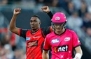 Dwayne Bravo celebrates dismissing Sam Billings, Melbourne Renegades v Sydney Sixers, Big Bash League 2017-18, Victoria, January 3, 2018