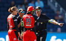 Amy Satterthwaite and Sarah Inglis debate with the umpires, Melbourne Renegades v Sydney Sixers, Women's Big Bash League 2017-18, Victoria, January 3, 2018