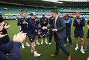 Mason Crane receives his England cap from Graeme Swann, Australia v England, 5th Ashes Test, Sydney, 1st day, January 4, 2018