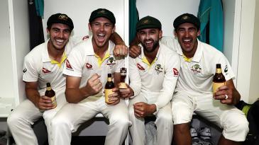 Pat Cummins, Josh Hazlewood, Nathan Lyon and Mitchell Starc celebrate Australia's Ashes win