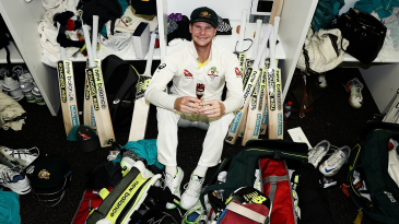 Steven Smith celebrates in the dressing room after winning the Ashes