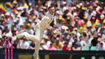 Mason Crane in action on his Test debut