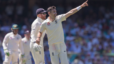 James Anderson celebrates his removal of David Warner