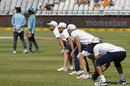 Dean Elgar, Faf du Plessis, AB de Villiers and Hashim Amla practice before the start of play, South Africa v India, 1st Test, Cape Town, 1st day, January 5, 2017