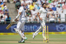 Bhuvneshwar Kumar wheels away after dismissing Hashim Amla, South Africa v India, 1st Test, Cape Town, 1st day, January 5, 2017