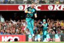 Mark Steketee celebrates the wicket of Hilton Cartwright, Brisbane Heat v Perth Scorchers, BBL 2017-18, Brisbane, January 5, 2017