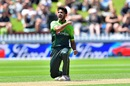 Hasan Ali enjoyed Colin Munro's wicket, New Zealand v Pakistan, 1st ODI, Wellington, January 6, 2018