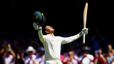 Usman Khawaja celebrates his first Ashes century