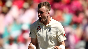 Mason Crane celebrates his maiden Test wicket