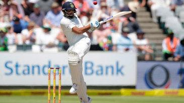 Rohit Sharma mistimes a pull