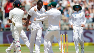 Kagiso Rabada exults after dismissing Rohit Sharma