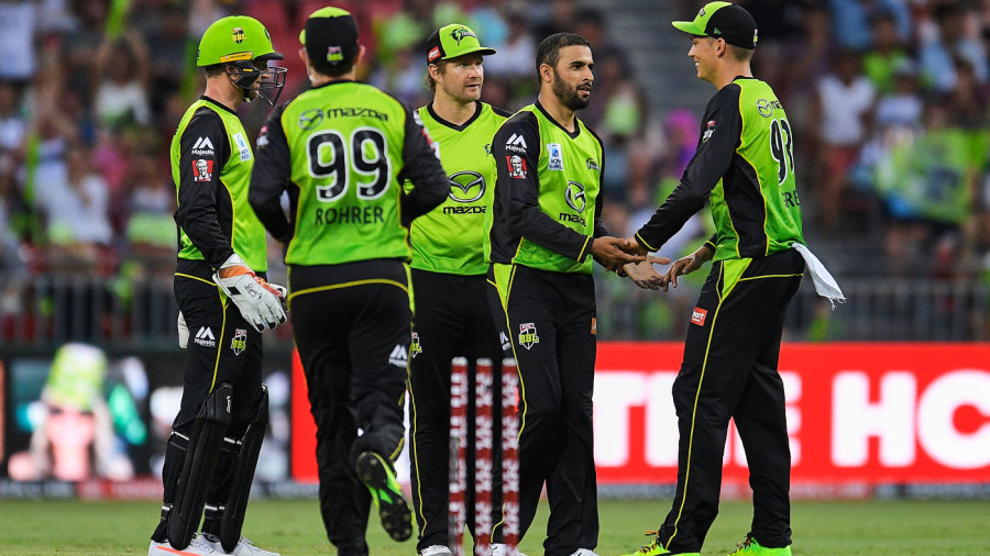 Fawad Ahmed celebrates with his team-mates