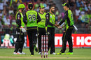 Fawad Ahmed celebrates with his team-mates, Sydney Thunder v Adelaide Strikers, BBL 2017-18, Sydney, January 7, 2018