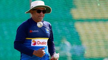 Sri Lanka's head coach Chandika Hathurusingha at a practice session