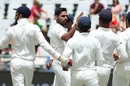 Bhuvneshwar Kumar celebrates a wicket, South Africa v India, 1st Test, Cape Town, 4th day, January 8, 2018