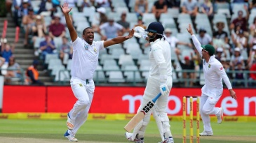 A decision went against Vernon Philander when M Vijay's lbw was overturned by DRS
