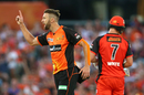 Andrew Tye celebrates the wicket of Marcus Harris, Melbourne Renegades v Perth Scorchers, BBL 2017-18, Perth, January 8, 2018