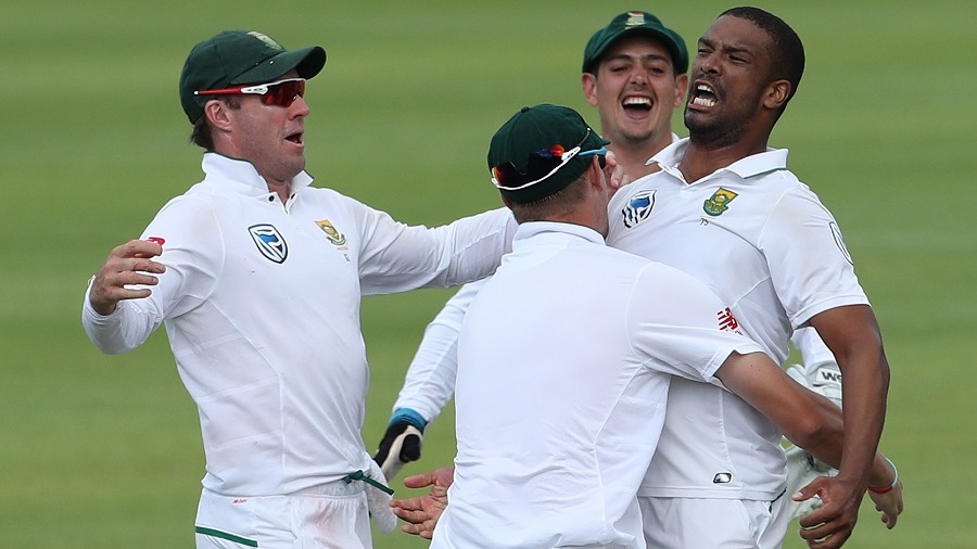 Vernon Philander is pumped after wrapping up South Africa's win