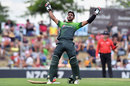 Hasan Ali celebrates his fifty, New Zealand v Pakistan, 2nd ODI, Nelson, January 9, 2018