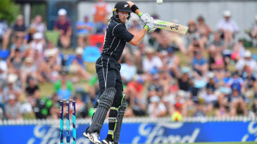 Martin Guptill hits one square on the off side