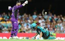 Alex Ross was given out obstructing the field in bizarre fashion, Brisbane Heat v Hobart Hurricanes, Big Bash League 2017-18, Brisbane, January 10, 2018