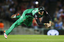 Kevin Pietersen hangs onto a diving catch, Melbourne Renegades v Melbourne Stars, Big Bash League 2017-18, Melbourne, January 12, 2018