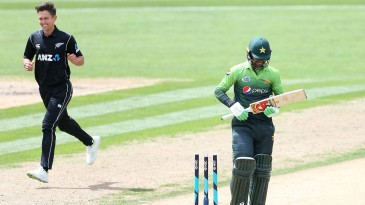 Fakhar Zaman was bowled by Trent Boult in the fourth over