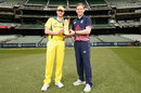 Steven Smith and Eoin Morgan pose with the ODI series trophy, Melbourne, January 13, 2018