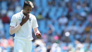 Hardik Pandya tries to maintain the shine on the ball