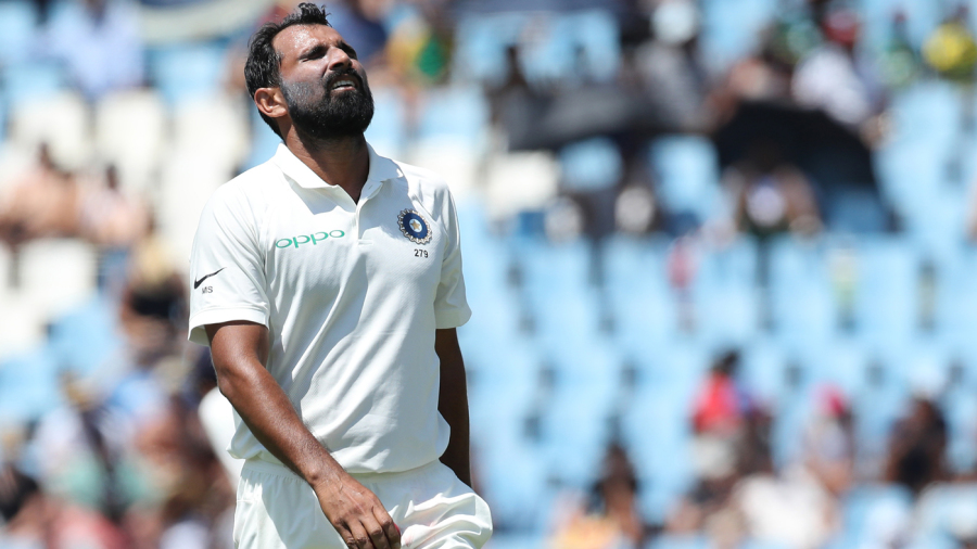 Mohammed Shami reacts in the field