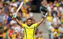 Aaron Finch celebrates his ninth ODI hundred, Australia v England, 1st ODI, Melbourne, January 14, 2018