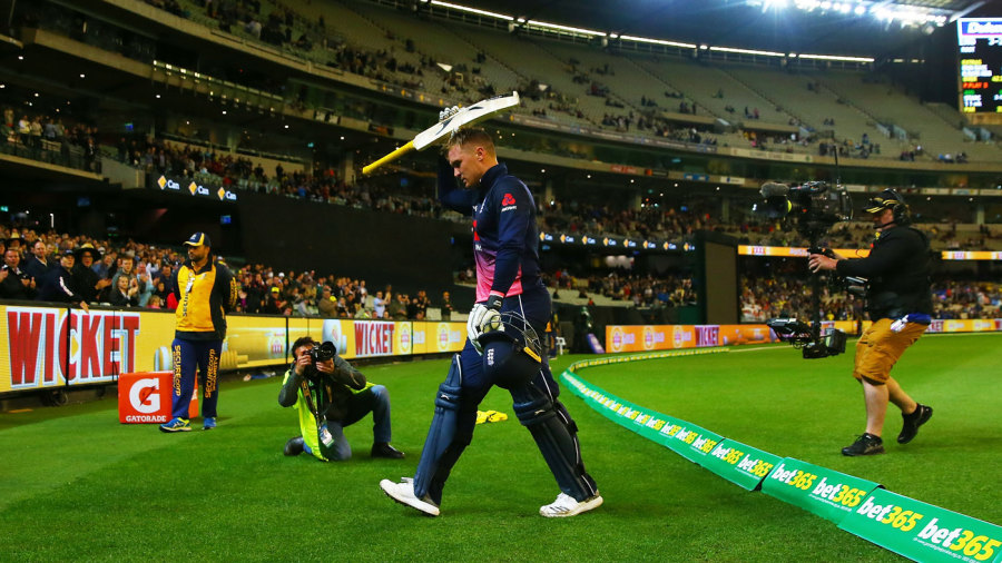 Jason Roy walks off having made 180, the highest ODI score at the MCG