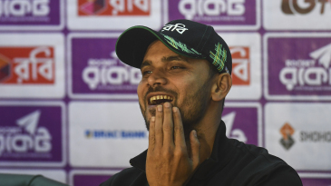 Mashrafe Mortaza finds a reason to smile in a press interaction