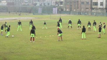 The Zimbabwe team trains before the tri-series