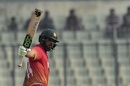Sikandar Raza celebrates his ninth ODI fifty, Bangladesh v Zimbabwe, tri-series, Mirpur, January 15, 2018