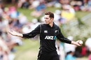 Mitchell Santner continued to impress with his fingerspin, New Zealand v Pakistan, 4th ODI, Hamilton, January 16, 2018