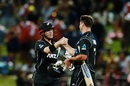 Henry Nicholls and Colin de Grandhomme celebrate New Zealand's win, New Zealand v Pakistan, 4th ODI, Hamilton, January 16, 2018