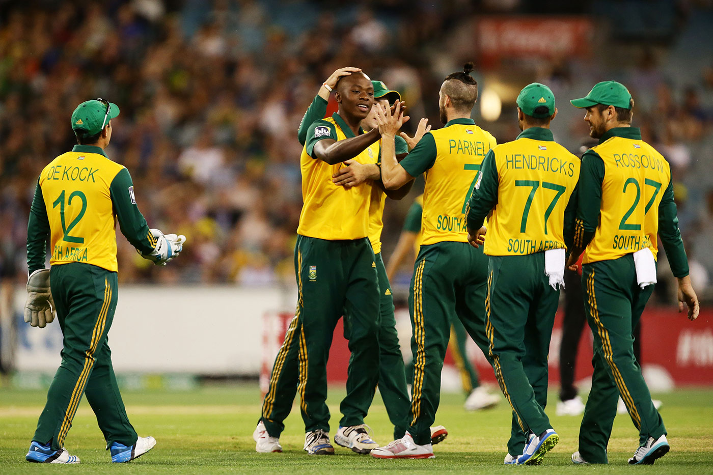 How it began: Rabada takes his first international wicket, that of Glenn Maxwell, in a T20I in 2014
