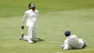 Rohit Sharma displays his frustration behind the stumps