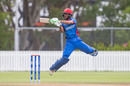 Ikram Ali Khil gets off his feet to play a shot during his innings of 55, Afghanistan v Sri Lanka, Under-19 World Cup, Group D, Whangarei, January 17, 2018