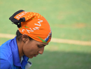 Neha Tanwar spends some time by herself before going in to bat, Delhi v Hyderabad, Senior Women's T20 League 2018, Mumbai
