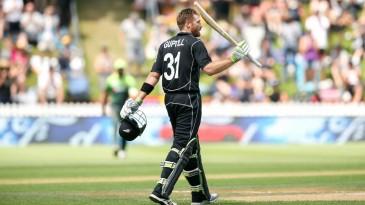 Martin Guptill celebrates his 13th ODI century