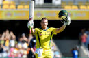 Aaron Finch celebrates his second hundred in as many matches, Australia v England, 2nd ODI, Brisbane, January 19, 2018