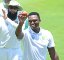 Lungi Ngidi holds up the ball, acknowledging the cheers for his six-for, South Africa v India, second Test, Centurion, day five, January 17, 2018