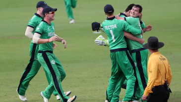 The Ireland players celebrate their thrlling win