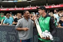 Hollywood actor Will Smith is presented with a bat by the Stars' Kevin Pietersen, Perth Scorchers v Hobart Hurricanes, Big Bash League, January 20, Perth