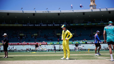 Steven Smith inspects the pitch