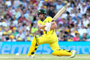 Aaron Finch sweeps during his half century, Australia v England, 3rd ODI, Sydney, January 21, 2018