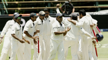 India celebrate their first Test win in South Africa